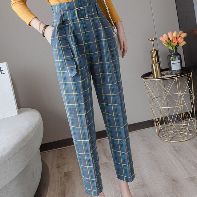 Women High Waist Sashes Pockets Colorful Plaid Pants 2019 Autumn Winter Casual Trousers Femme Pantalon Loose Female Pants