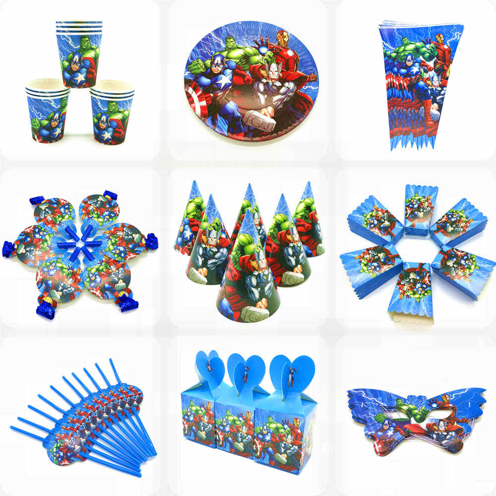 De Avengers Feestartikelen Decoraties Kids Verjaardag Wegwerp Servies Tafelkleed Cups Superhero Party Thema Gunsten Jongen Set