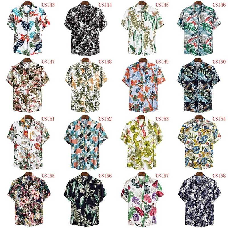 FFXZSJ Brand Hawaii Summer Men's Shirts 2020 New High Quality Shirt Short Sleeve Lapel Shirt European Plus-size Casual Shirts