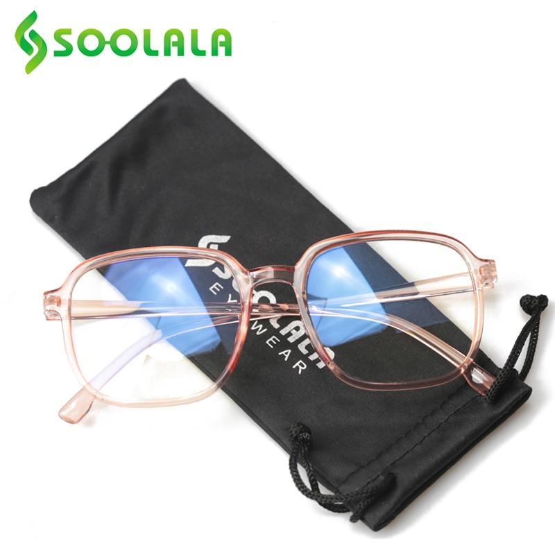 SOOLALA Anti Blue Light Reading Glasses Women Men Transparent Clear Lens Eyeglasses Frame Presbyopia Reader Reading Glasses