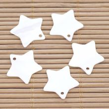 5 шт 18 мм пентаграмма оболочки натуральный белый перламутровый