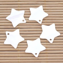 5 PCS 18mm Pentagram Shell Natural White Mother of Pearl Top Hole Loose Beads lots 10 pcs 18mm white shell six petal flower mother of pearl loose beads