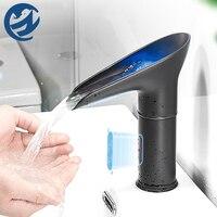 Grifo de cascada LED para lavabo, grifería eléctrica con Sensor automático, sin contacto, mezclador de agua fría y caliente, grifos de grúa para Baño