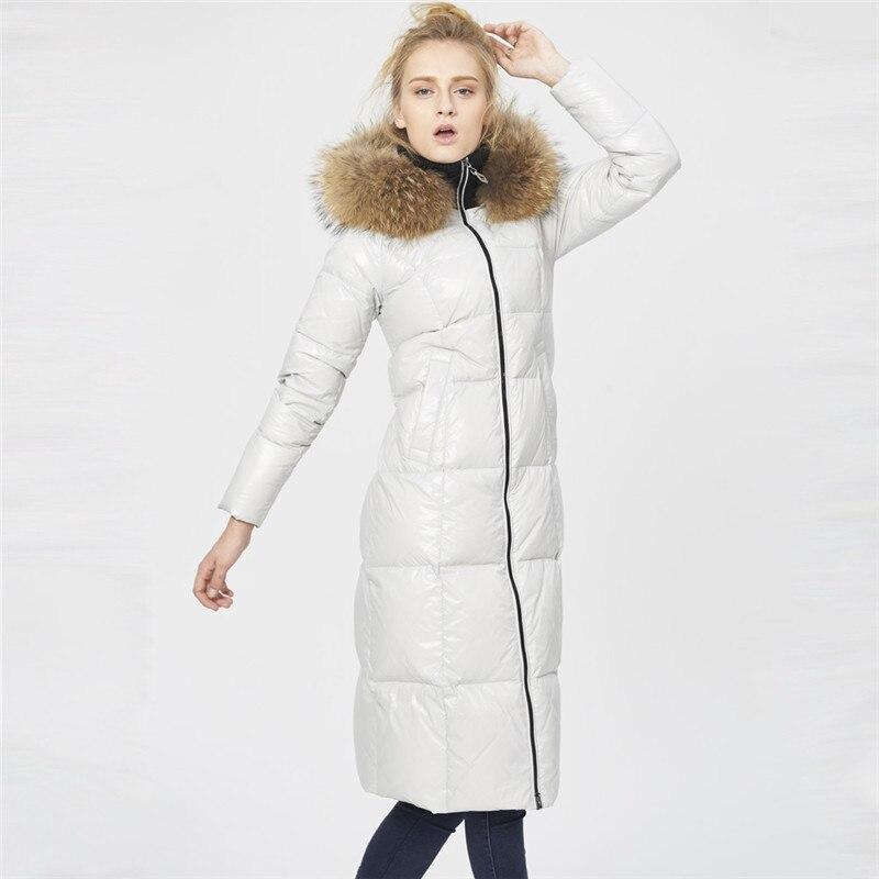Hooded Women's 2020 Luxury Raccoon Fur Collar White Duck Down Jacket Winter Coat Women Long Parkas Padded Jackets WXF231 S