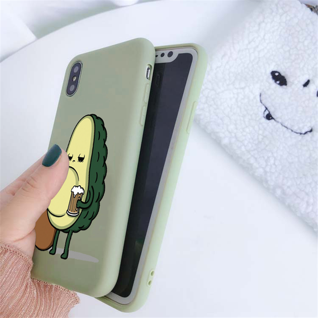 Green Matte Avocado Phone Case For iPhone XR X XS Max 5 5S SE 2020 7 8 6 6S Plus Silicon TPU Cover For iPhone 11 12 Pro Max Case 3