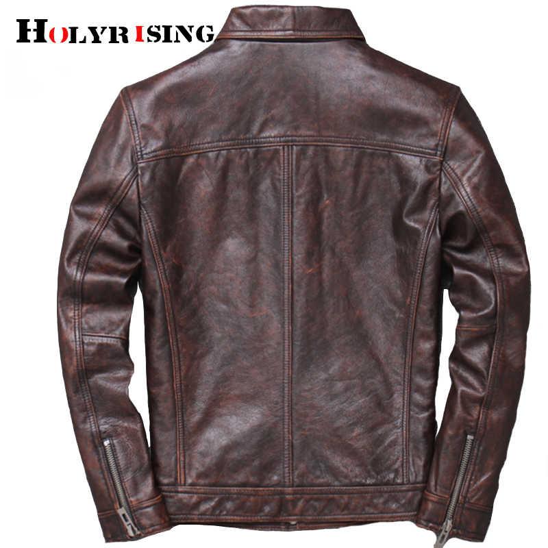 Erkek inek derisi deri veste cuir homme 2019 erkek 100% hakiki DERİ CEKETLER biker vintage kaliteli ceket blouson cuir homme 19023