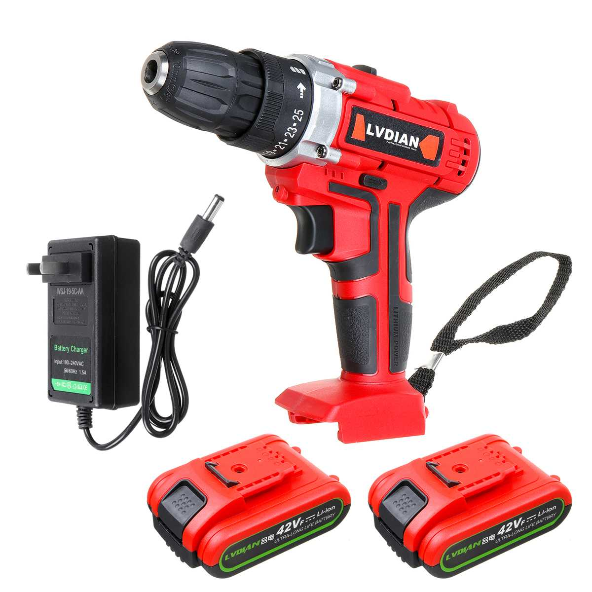 1/2 Battery Electric Drill Electric Cordless Impact Drill 42V Double Speed 50Nm Screwdriver 25+1 Torque Power LED Light Polisher