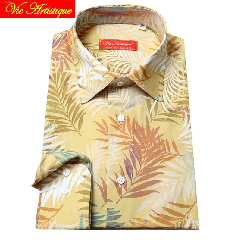 Custom Tailor Made Men's Bespoke Cotton Floral Shirts Business Formal Wedding Ware Blouse Beach Beige Leaves Flower Fashion