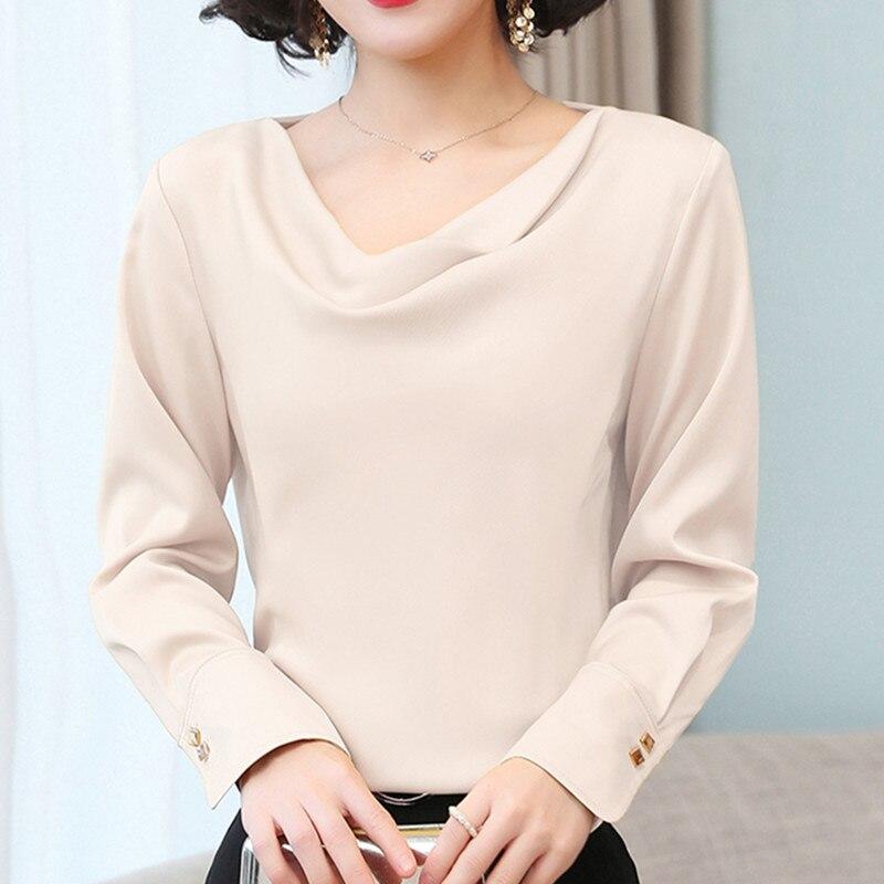 Korean Fashion Silk Women Blouses Elegant Woman Satin Solid Blouse V Neck Shirt Plus Size 4XL Blusas Mujer De Moda Women Blouses