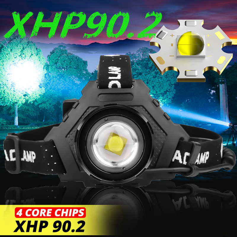 Powerful 8000LM XHP90.2 <font><b>LED</b></font> <font><b>Headlamp</b></font> USB Rechargeable Headlight <font><b>Waterproof</b></font> Zoomable Power Bank Fishing Light Using 18650 Battery image