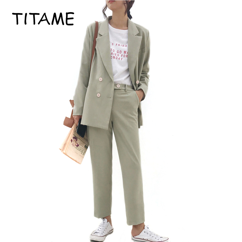 TITAME Women Vintage Jacket Pant Suit 2 Piece Sets Light Green Notched Blazer Jacket & Pant Office Wear Women Suits Female Sets
