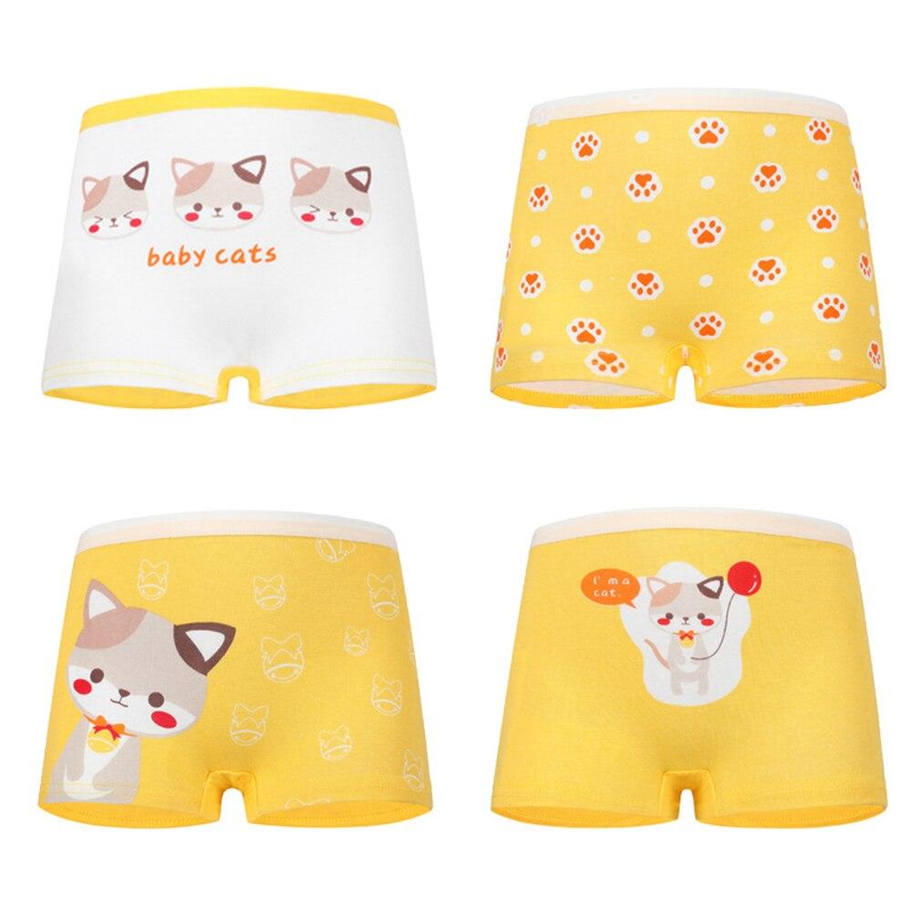 4 Pcs High Quality Pure Cotton Soft Children Underwear Girls Panties Cute Pattern Kids Boxer Briefs Child Girl Pants 2-12 Years 1