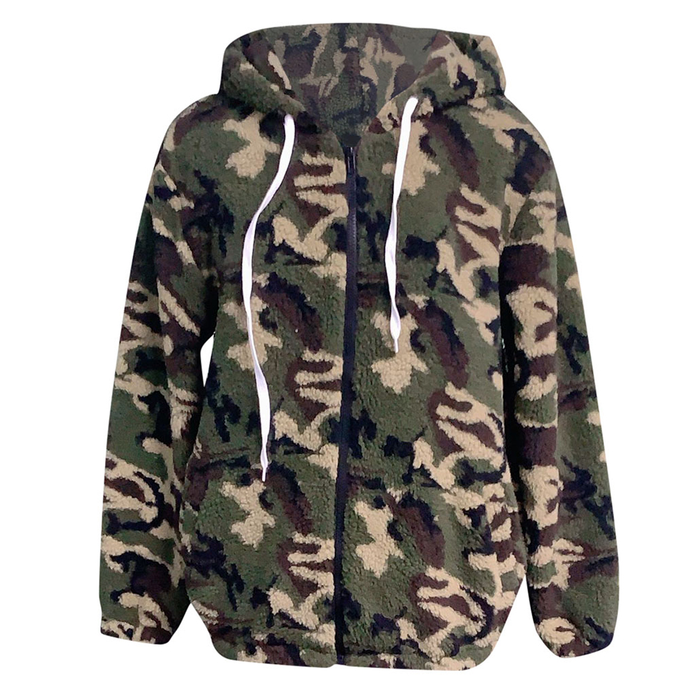 2019 Camouflage Coat Women Zippers Drawstring Hoodie jackets Plus Size Loose Streetwear Top Lamb Winter Jacket For Women D25 in Jackets from Women 39 s Clothing