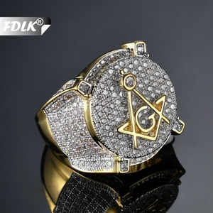 FDLK Hip Hop Gold Color Brass Ice Cream Micro Pave Cubic Zirconia Masonic Ring Charm for Men Gifts with 6 - 13