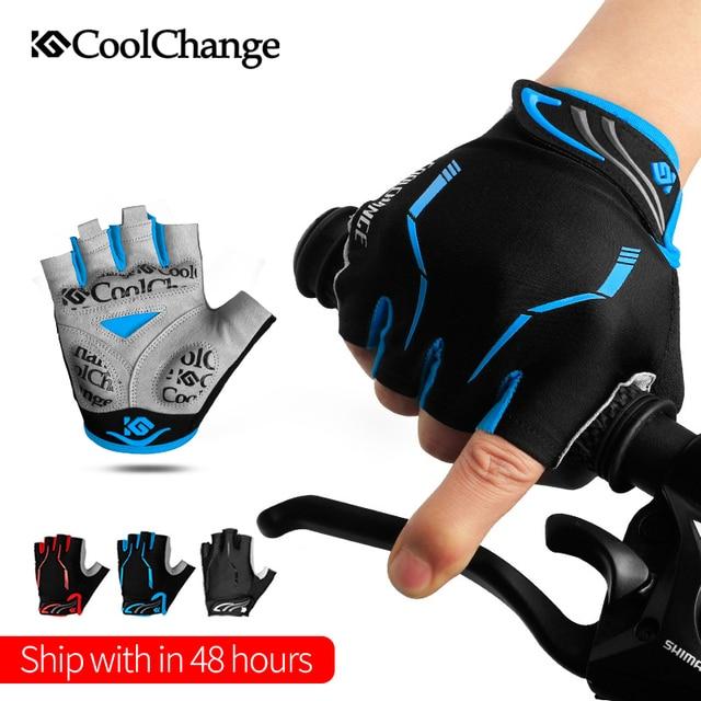 Coolchange luvas de ciclismo metade do dedo dos homens verão esportes à prova de choque bicicleta luvas gel mtb bicicleta luvas guantes ciclismo 1