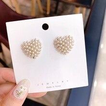 MENGJIQIAO New Arrival Handmade Cute Love Heart Simulated Pearl  Stud Earrings For Women Fashion Wedding Oorbellen Jewelry