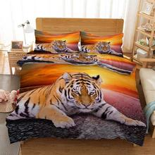 The tiger on the sunset road Bedding Quilt Cover Duvet Set Pillowcase Microfiber Soft Comforter Bedroom Single Queen King