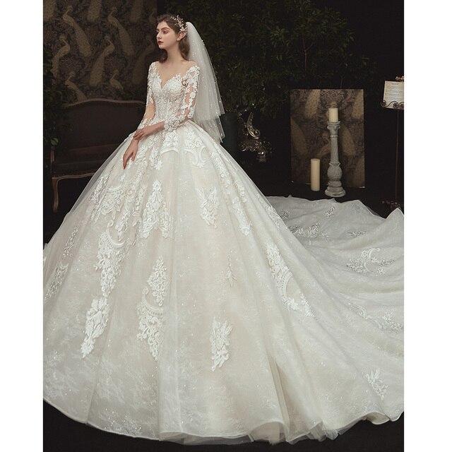 Beading Pearls Appliques Lace Illusion Princess Ball Gown Wedding Dress With Long Sleeve Vestido De Noiva Princesa 3