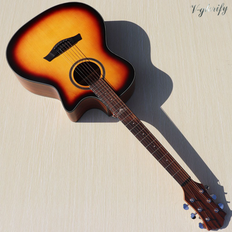 sunburst color electric acoustic guitar hickory back and side 40inch cutway 6 string folk guitar with Mic beat board EQ tuner