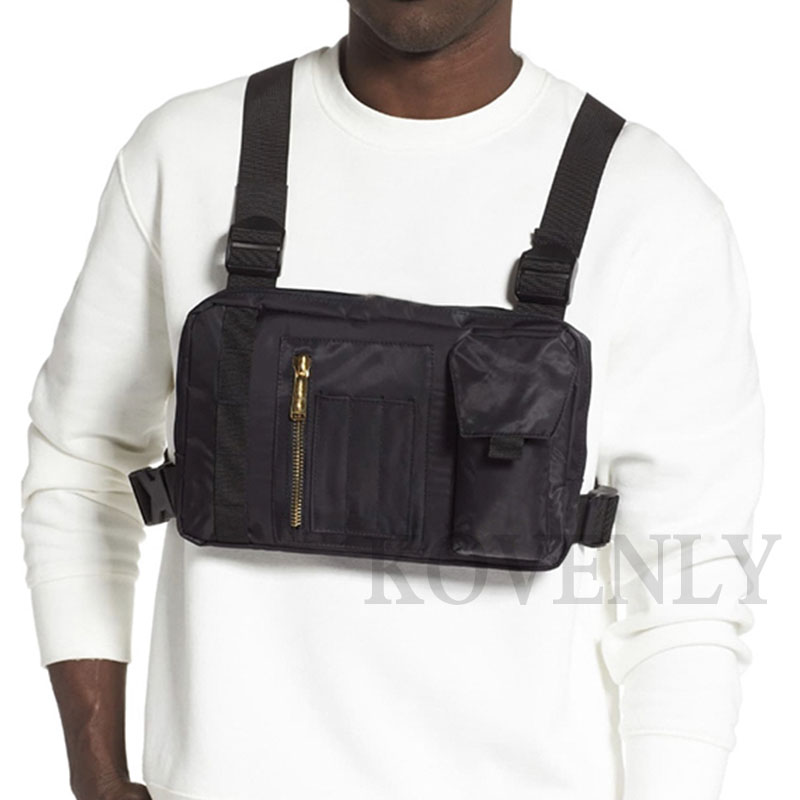 Men Tactical Bag Hip-hop Chest Rig Boy Canvas Chest Bag Kanye Street Style Vest Bag Male Casual Vest Shoulder Pocket