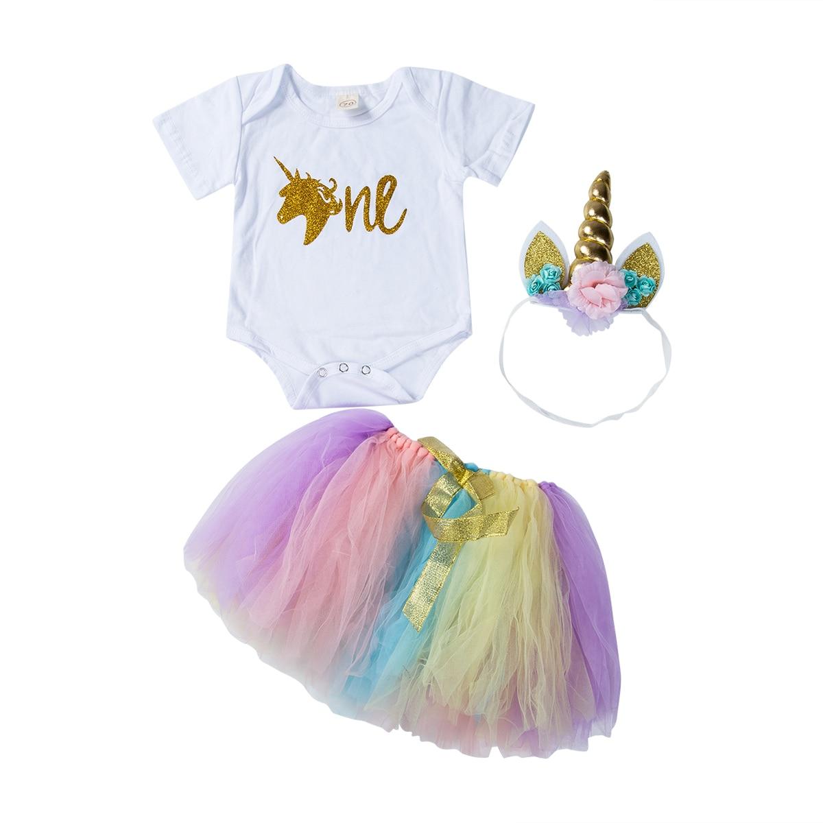 Unicorn Kids Girl Tulle Princess Dress Infant 1st Birthday Cake Skirt Outfits