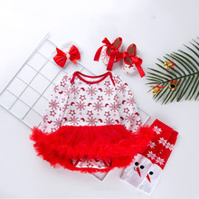 Red Tutu Christmas New 0-2 Year Old Baby Long Sleeved Snowflake Romper Dress Baby Gauze dress four-piece set Baby Girl Clothes(China)