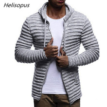Helisopus 2019 New Mens Hooded Sweaters Fall Winter Solid Color  Knitted Stripe Coat Jacket Long Sleeve Outwear Blouse Jumper