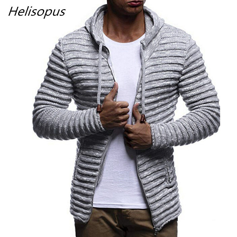 Helisopus 2020 New Men's Hooded Sweaters Fall Winter Solid Color  Knitted Stripe Coat Jacket Long Sleeve Outwear Blouse Jumper