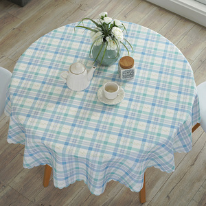 Image 4 - Mantel de mesa redondo Pastoral impermeable Floral/dibujo de cuadros borde de encaje fundas de mesa de poliéster contra el calor manteles de café a prueba de aceite