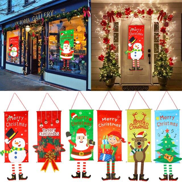 חג מולד קישוטים לבית מרפסת סימן דקורטיבי דלת תליית דקור החג שמח חג המולד קישוטי Navidad 2020 לידה 2021