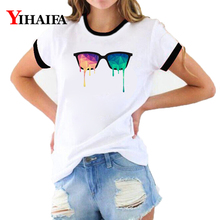 3D T Shirts Women Painted Glasses Print Tees Graphic Tee Summer Short Sleeve Ladies Funny O-Neck Casual Tops
