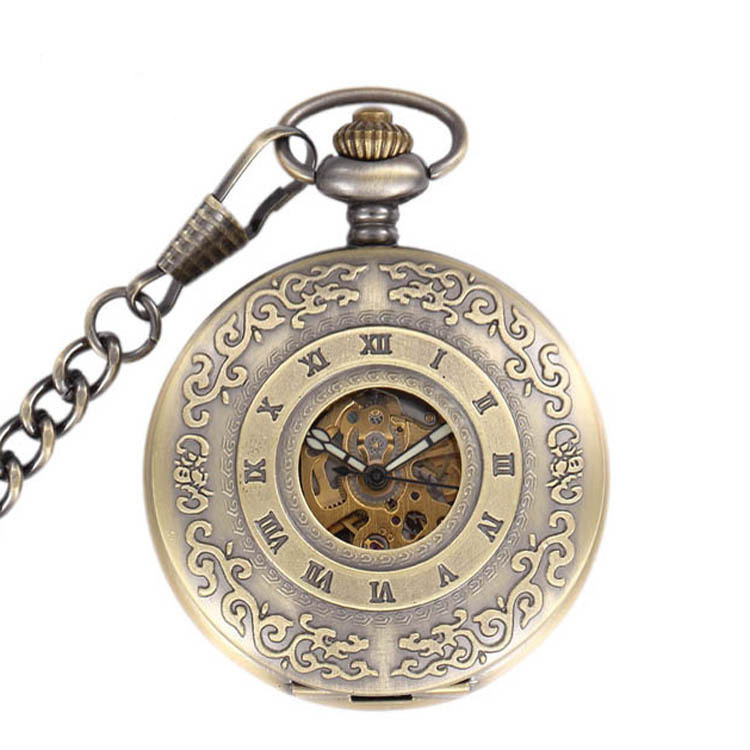Chain Fully Automatic Mens Pocket Watch With Luminous Hot Selling Ancient Copper Carved Memorial Steel Magnifying Glass