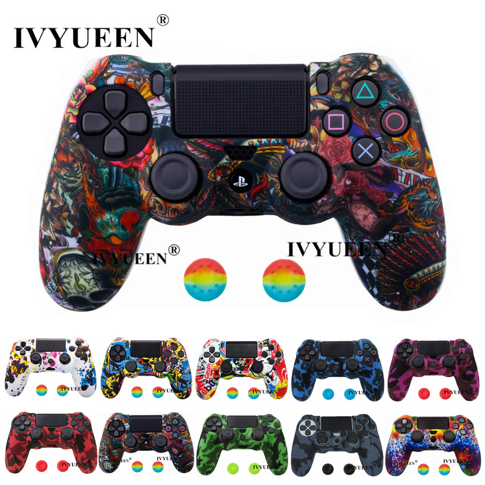 IVYUEEN New Silicone Skin For Dualshock 4 Sony PlayStation 4 PS4 Pro Slim Controller Case & Analog Grips Stick Caps Accessories(China)