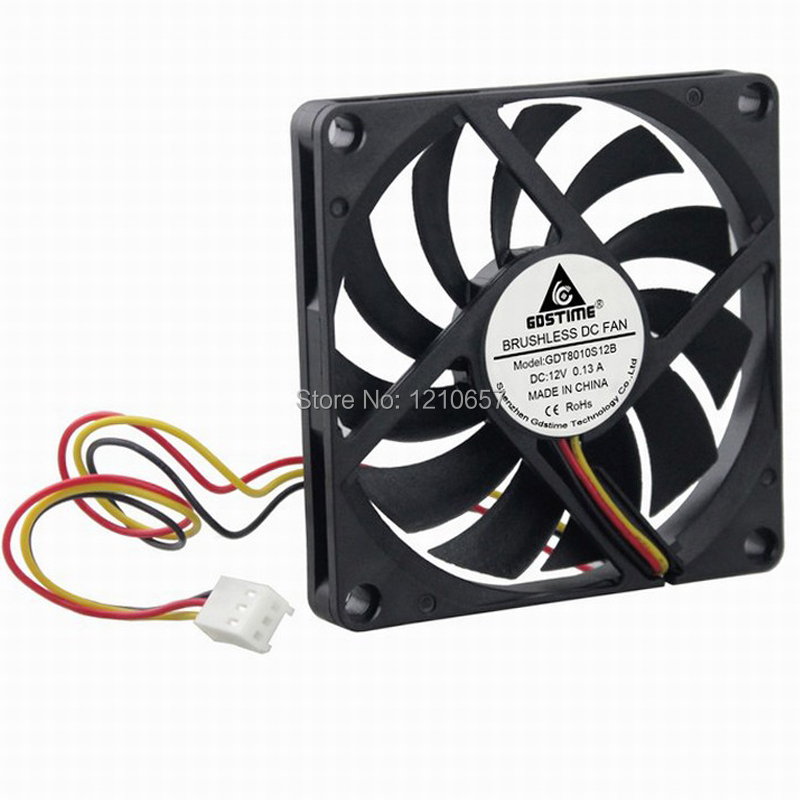 Купить с кэшбэком 2PCS Gdstime 3Pin 8cm 80x10mm 80mm x 80mm x 10mm DC 12V Brushless Cooling Cooler CPU Fan