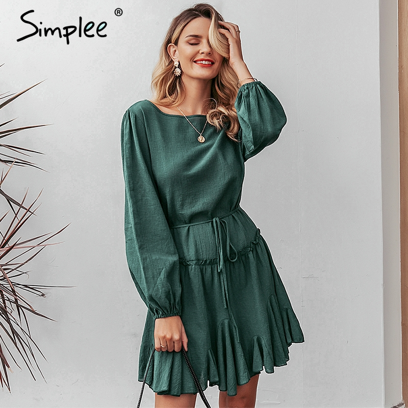 Simplee Elegant Loose Short Party Dress Streetwear Lantern Strap Reffled Cotton Dress O-neck Office Lady Autumn Chic Work Dress