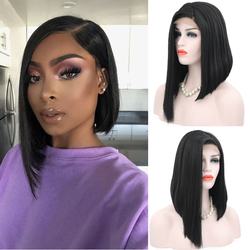 Charisma Short Wig Bob Style Synthetic Lace Front Wig Natural Straight Hair Black Color Wigs Glueless Side Part Wigs For Women