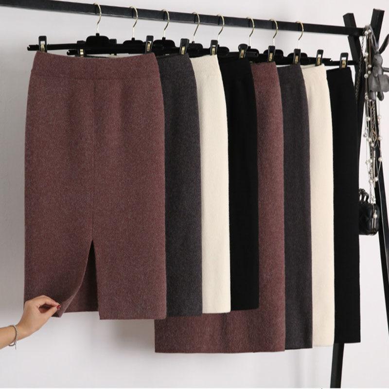 Knitted Wool Skirts Women Autumn Winter Warp Skirts Thicken High Waist Split Pencil Skirts Korean Vintage Cashmere 2019 V677