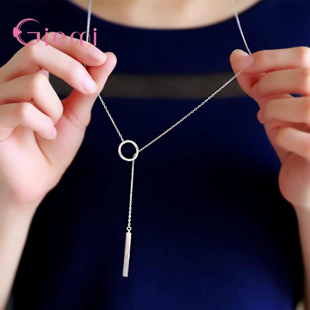 مجوهرات الأزياء 925 فضة دائرة مستديرة عقد مزين بشرابة طويلة النساء قلادة رائعة قلادة سترة اكسسوارات هدايا