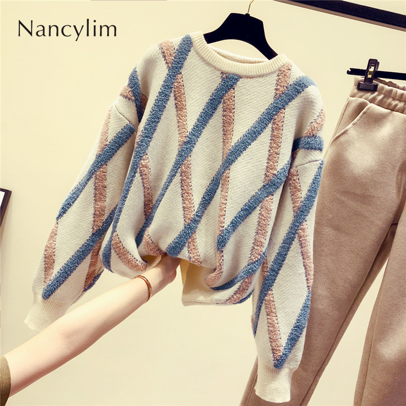 2019 Autumn Winter Sweater for Women New Ins Super Hot Sweater Female Lazy Wind Thicker Loose Knitting Shirt Jumper Femme