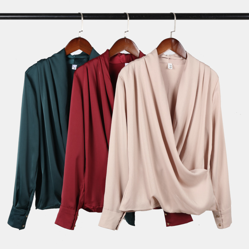 2019 Early Autumn Women Shirt Long Sleeve French Style Crossover V-neck Design Shirt Concise Top