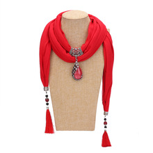 цена на New ceramic beads tassel Peacock pendant scarf ladies shawl scarf jewelry necklace ethnic pendant scarf