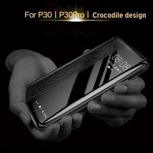 Image 3 - En Cuir véritable étui pour huawei P30/P30 Pro Vpower Fenêtre Smart View de Grain de Crocodile En Cuir Flip etui téléphone huawei P30/P30 Pro