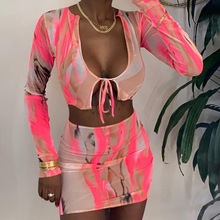 Sexy Sheer Mesh Two Piece Set Tie Dye bandage Crop Top + Skirt Dress Party Night Clubwear Outfit clothes for women