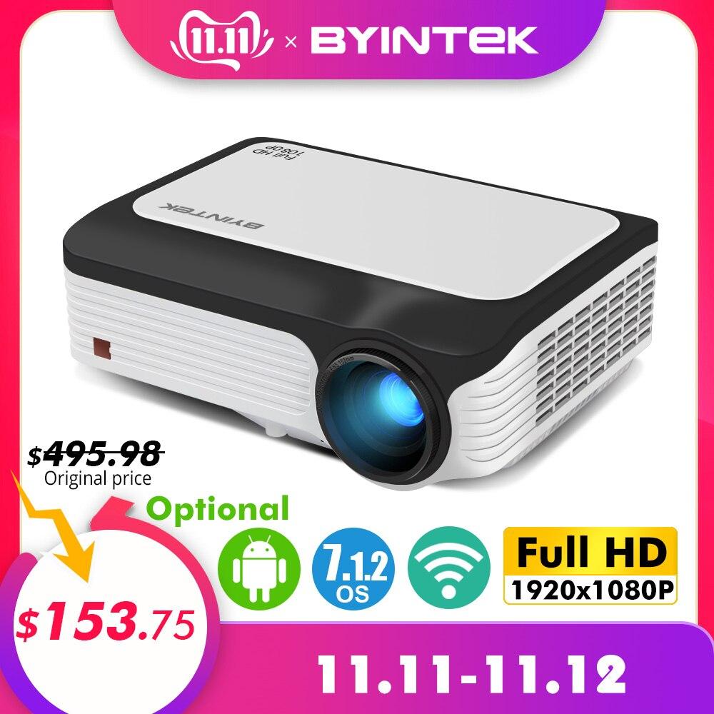 Byintek m1080 smart (2 gb + 16 gb) android wifi hd completo 1080 p portátil led mini projetor 1920x1080 lcd vídeo para iphone para netflix