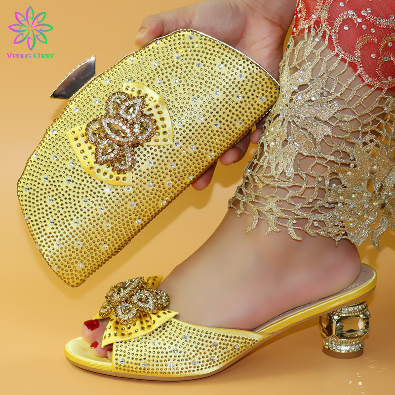Italian Shoes With Matching Bags Set Italy African Women's Party Shoes and Bag Sets green Color Women shoes - 3