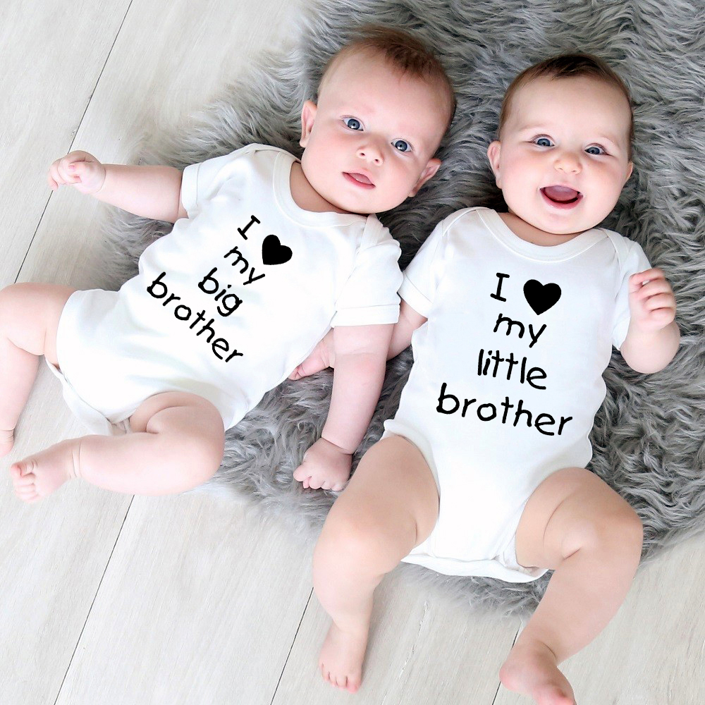 Little Sister Twins Newborn Baby Clothes Jumpsuuit Sleeveless Summer Novelty Funny Gift for Baby