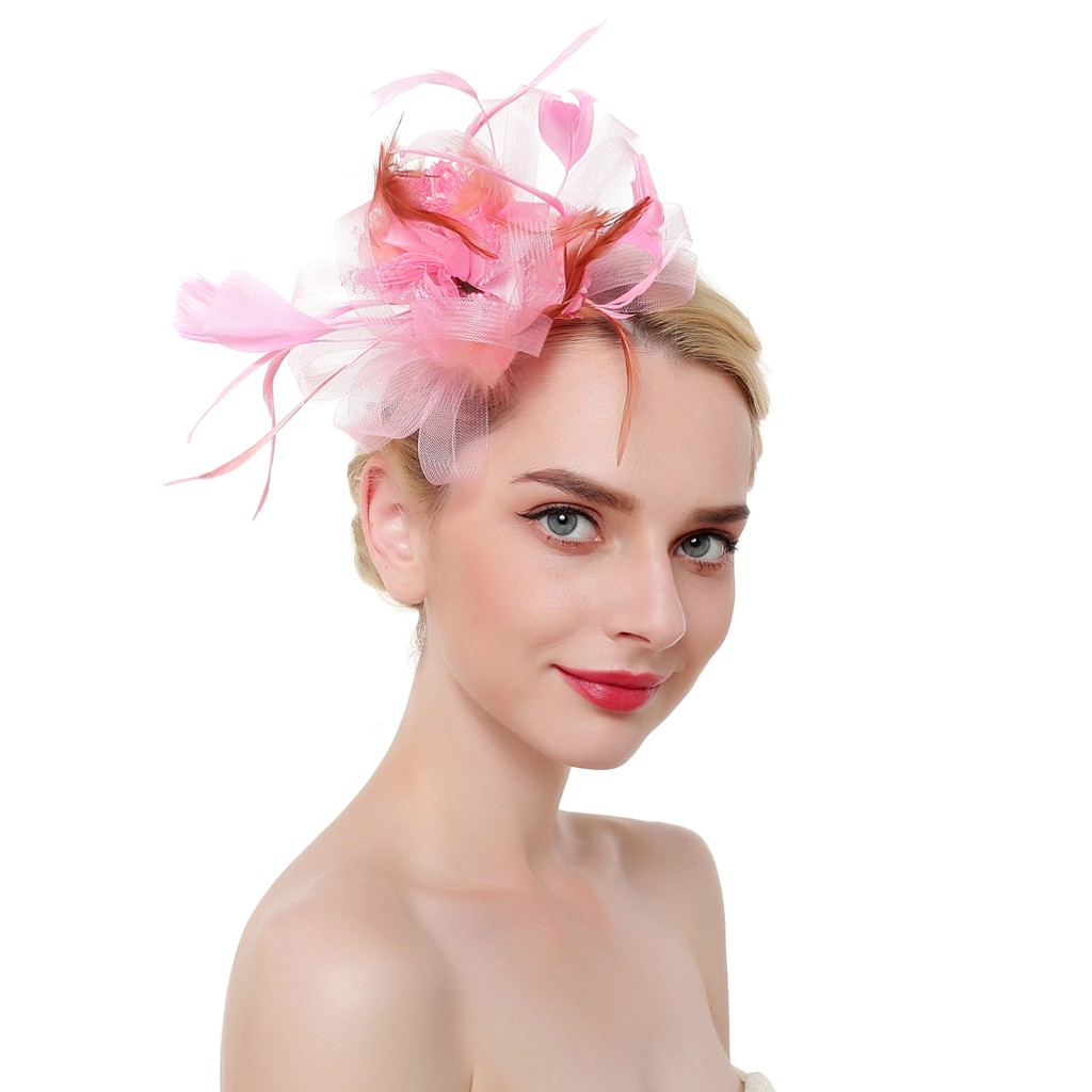 Women Mesh Ribbons Feathers Headband Cocktail Tea Party Hat Headwear For Jewelry Y826