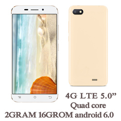 5.0inch 4G LTE Global Version Smartphones 10X 2G RAM+16G ROM Quad Core 2MP+5MP Front/Back Android 6.0 Mobile Phones Celuares