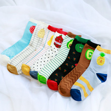 Fashion Cute Female Long Socks meia Funny Fruit Cartoon Pattern Striped Socks Kawaii Spring Summer Winter Woman Socks