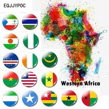 África occidental Mini imán de nevera Souvenir de la bandera del país Mauritania, Senegal, Gambia, Malí, Burkina Faso, Guinea-Bissau, Cabo Verde